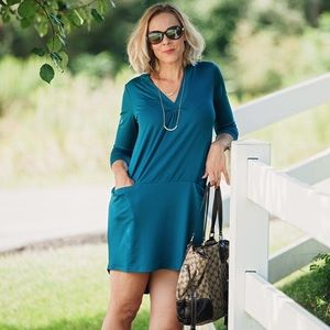 Forget Me Not teal jersey dress